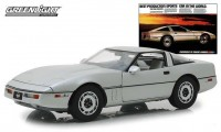 """1:18 CHEVROLET Corvette C4 1984 Silver Metallic (Vintage Cars """"Best Production Sports Car in the World"""")"""