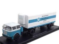 """1:43 LIAZ 706 MTTN с полуприцепом Orlican N12CH """"VEG SAATZUCHT"""" 1969 White/Blue"""