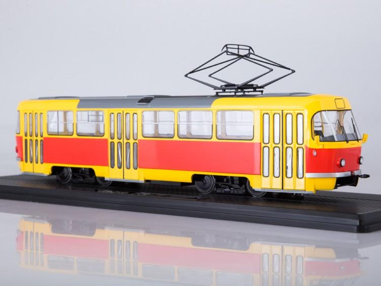 1:43 Трамвай Tatra-T3SU красный/жёлтый