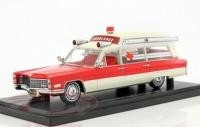 1:43 CADILLAC S&S Ambulance (скорая медицинская помощь) 1966 Red/White