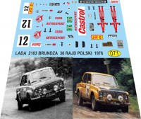 1:43 набор декалей Ваз 2103 Брундза 36-й польский рейд 1976
