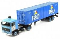 """1:43 VOLVO F10 c полуприцепом-контейнеровозом и 20-футовыми контейнерами """"P & O"""" 1983 Blue"""