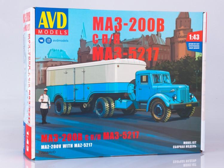 1:43 Сборная модель МАЗ-200В с полуприцепом МАЗ-5217