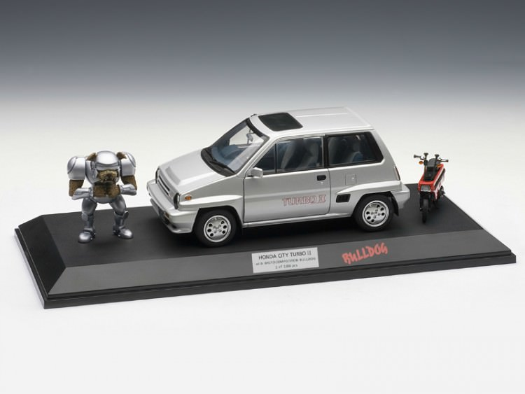 1:18 Honda city turbo II 1983 (в комплекте с мини-мото, бульдогом и прозрачным боксом), L.e. 1000 pc