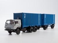 1:43 Камский грузовик 53212 контейнеровоз с прицепом ГКБ-8350, серый / синий