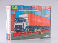 1:43 Сборная модель МАЗ-5432 с полуприцепом-контейнеровозом МАЗ-938920