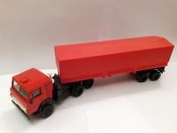 1:43 КАМский грузовик-5410 c полуприцепом (тент, красный)