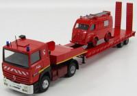1:43 RENAULT R385ti пожарный с полуприцепом-транспортером + RENAULT 1000KG SAPEURS POMPIERS de Marboué 1980