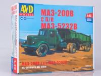 1:43 Сборная модель МАЗ-200В с полуприцепом МАЗ-5232В