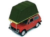 """1:43 ВАЗ 2121 """"НИВА""""  с палаткой 1981 Red"""