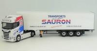 "1:43 SCANIA S500 (с люстрой) с полуприцепом ""TRANSPORTS SAURON"" 2020"