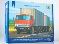 1:43 Сборная модель Камский грузовик-53212 контейнеровоз с прицепом ГКБ-8350