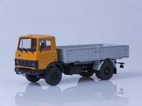 1:43 МАЗ 5337 бортовой (ранняя кабина), 1987 г. [откидывающаяся кабина] (оранжевый / серый)