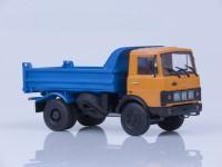 1:43 МАЗ 5551 самосвал (ранняя кабина), 1988 г. [откидывающаяся кабина] (оранжево-синий)