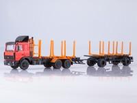 1:43 МАЗ-6303 сортиментовоз с прицепом МАЗ-83781, красный / оранжевый