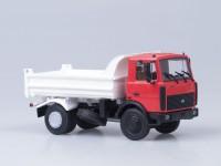 1:43 МАЗ 5551 самосвал (поздняя кабина, низкий кузов), 1988 г. [откид. кабина] (красно-белый)