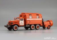1:43 ЗИЛ 157К кунг-пожарный автомобиль ППУ с прицепом-дымососом (со следами эксплуатации)