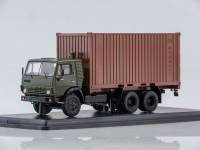 1:43 Камский-53212 с 20-футовым контейнером (хаки/коричневый)