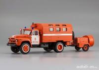 1:43 ЗИЛ 130 кунг, пожарный автомобиль технической службы с прицепным дымососом
