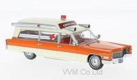 1:43 CADILLAC S&S High TopAmbulance (скорая медицинская помощь) 1966 White/Orange